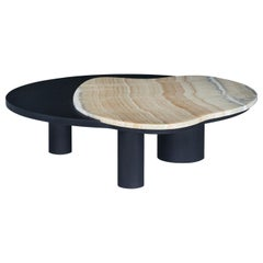Bordeira Coffee Table Matte Black Stained American Oak Polished Shadow Onyx