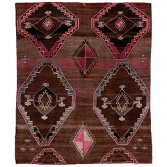 Borderless Antique Turkish Kars Rug, Brown Diamond Field, Pink and Blue Accents