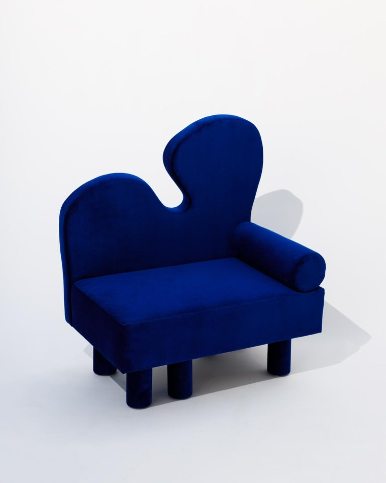 Post-Modern Bordon chair by Another Human, Blue Velvet Contemporary Lounge Chair For Sale