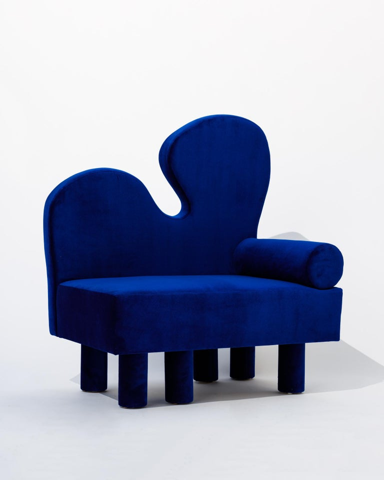 North American Bordon chair by Another Human, Blue Velvet Contemporary Lounge Chair For Sale