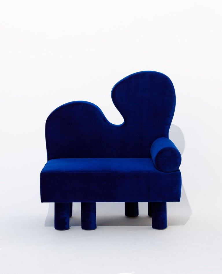 Bordon chair by Another Human, Blue Velvet Contemporary Lounge Chair In New Condition For Sale In Los Angeles, CA