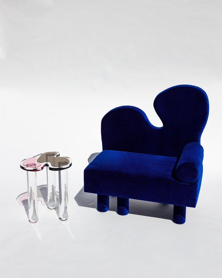 Bordon chair by Another Human, Blue Velvet Contemporary Lounge Chair For Sale 2