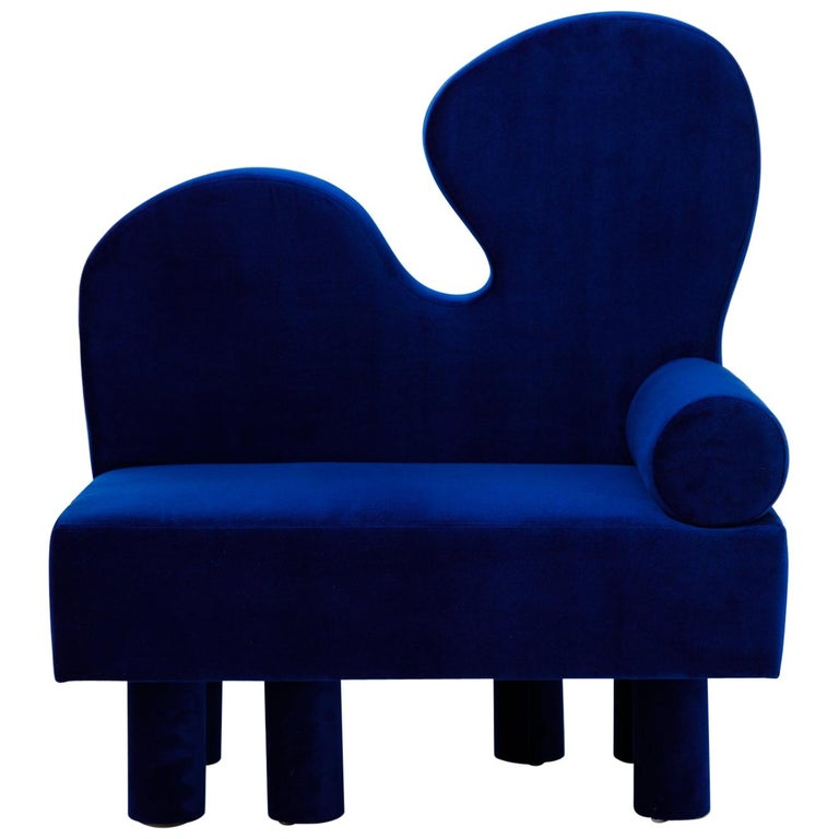 Bordon chair by Another Human, Blue Velvet Contemporary Lounge Chair For Sale