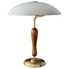 Boréns, Functionalist Table Lamp Brass, Stained Oak, Lacquered Steel, circa 1949