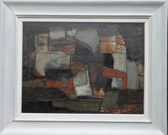 Abstract Composition - Rock Fragment - Danish 1961 Abstract art oil painting