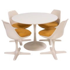 Arkana White Dining Table and Four Arkana 115 Yellow Dining Chairs Set
