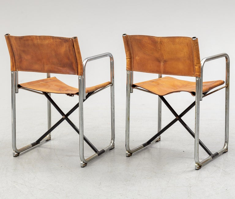 Scandinavian Modern Borge Lindau & Bo Lindekrantz Leather Folding Chairs, Sweden 1965, Set of 2 For Sale