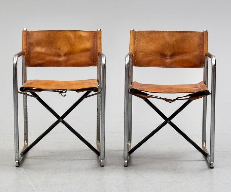 Swedish Borge Lindau & Bo Lindekrantz Leather Folding Chairs, Sweden 1965, Set of 2 For Sale