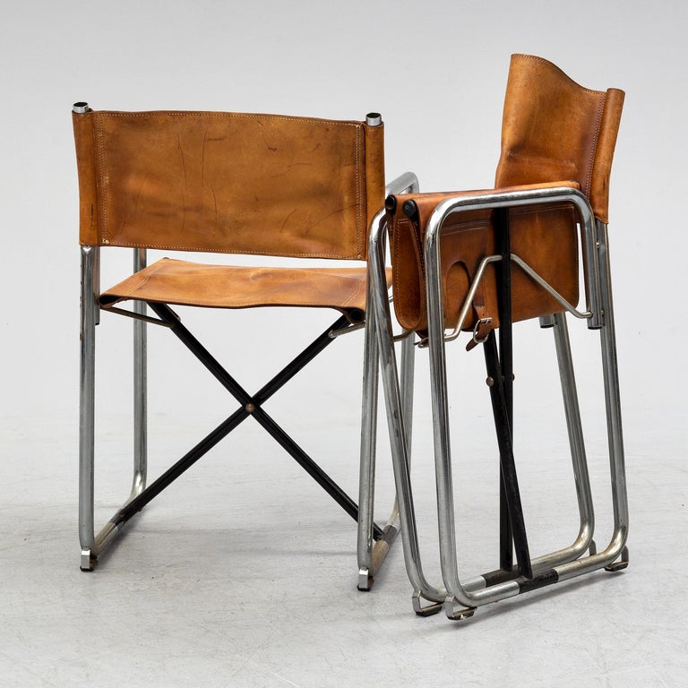 Borge Lindau & Bo Lindekrantz Leather Folding Chairs, Sweden 1965, Set of 2 In Good Condition For Sale In Madrid, ES