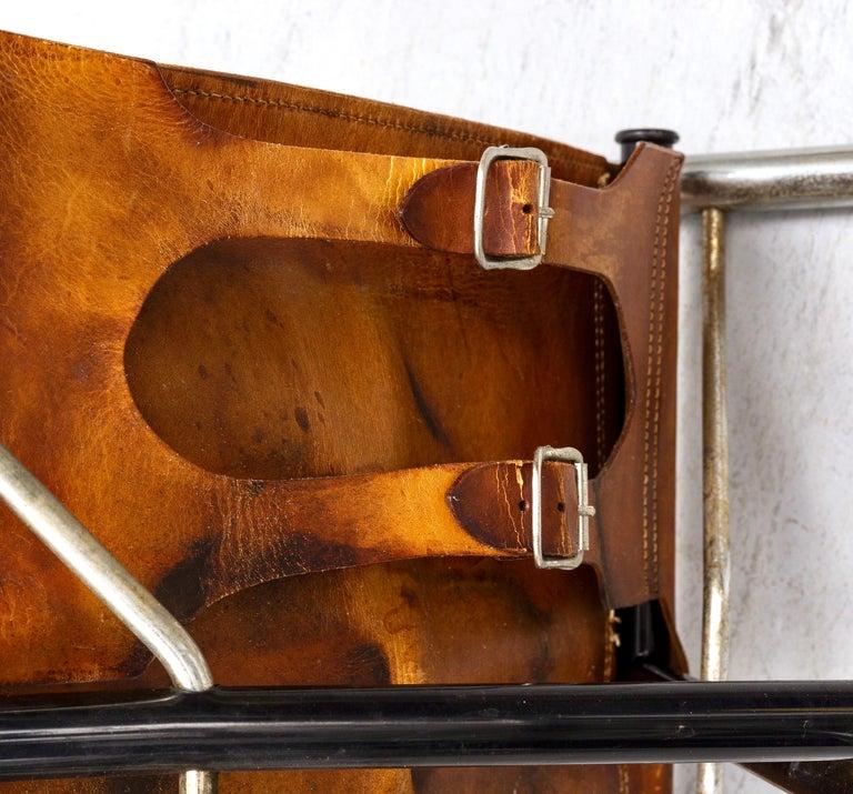 20th Century Borge Lindau & Bo Lindekrantz Leather Folding Chairs, Sweden 1965, Set of 2 For Sale