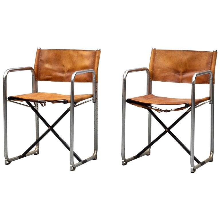 Borge Lindau & Bo Lindekrantz Leather Folding Chairs, Sweden 1965, Set of 2 For Sale