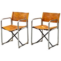 Borge Lindau & Bo Lindekrantz Leather Folding Chairs, Sweden 1965, Set of 2