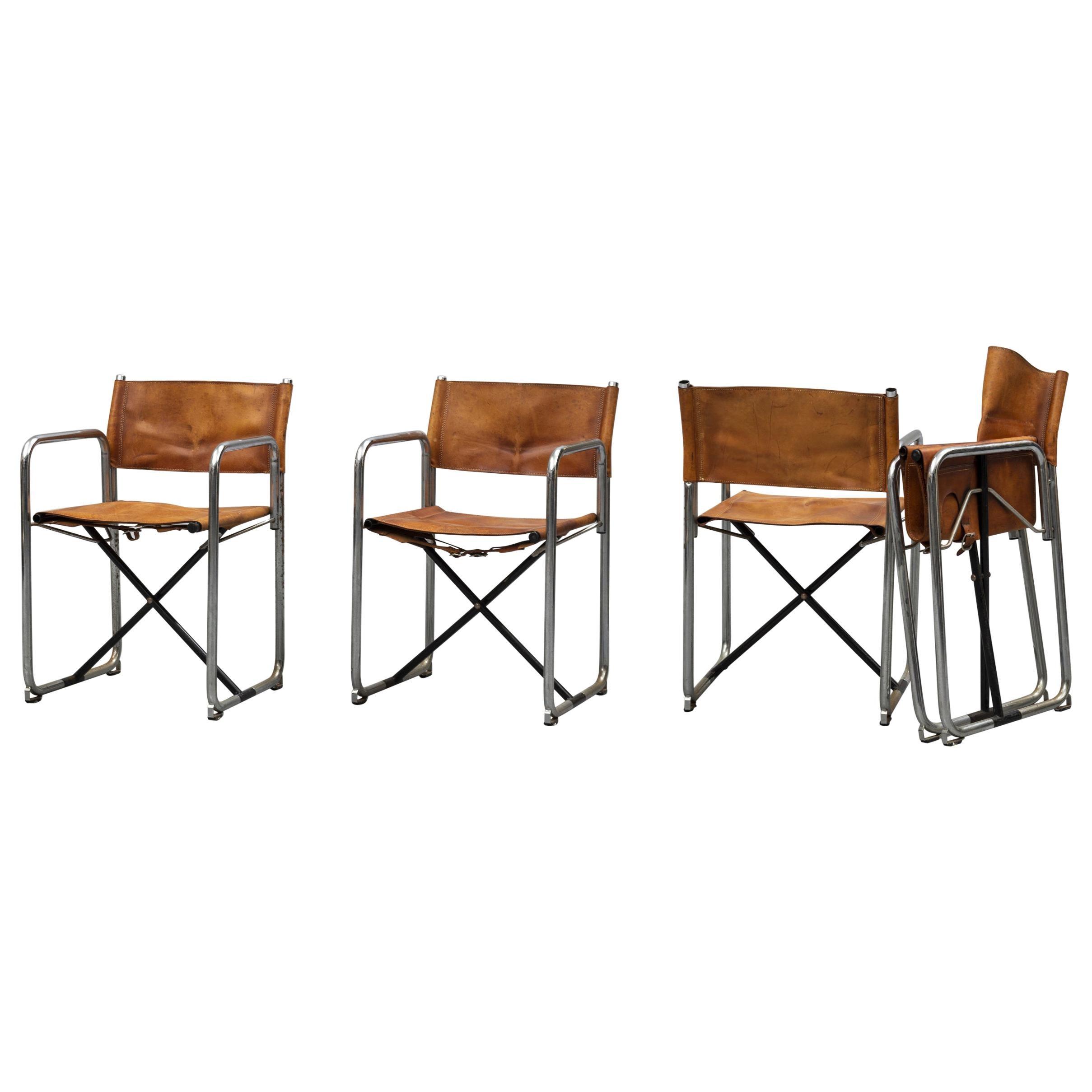 Borge Lindau & Bo Lindekrantz Leather Folding Chairs, Sweden 1965, Set of 4