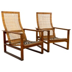 Borge Mogensen 2254 Midcentury Oak and Cane Highbacked Lounge Chairs, Pair