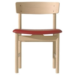 Borge Mogensen 3236 Dining Chair, White Oil, Leather