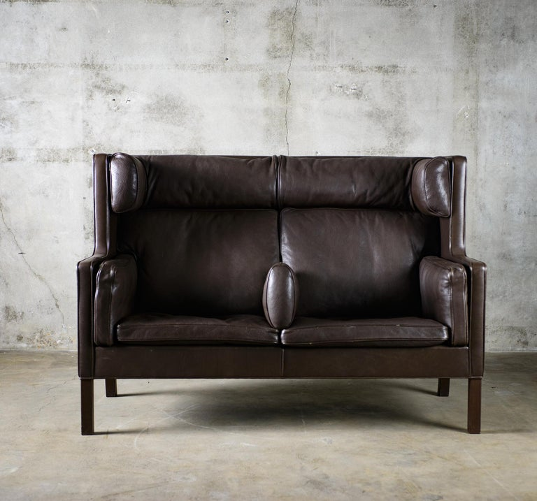 One Borge Mogensen 'Coupe' sofa, Model 2192, in brown leather.