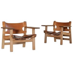 Borge Mogensen Danish Modern Spanish Chairs in Oak and Saddle Leather