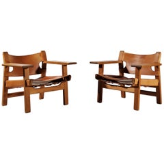 Børge Mogensen Danish Modern Spanish Chairs in Oak and Saddle Leather