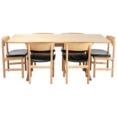Borge Mogensen Dining Set Model C18 Table with 6 Model 3236 Black Leather Chairs