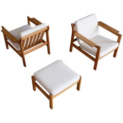 Borge Mogensen Easy Chairs with Footstool Model 227, 1960s