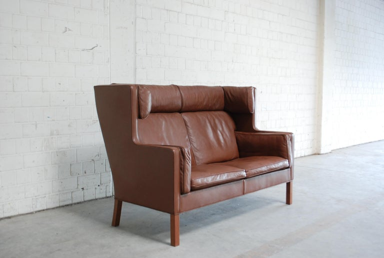 Børge Mogensen Leather Sofa Coupe 2192 for Fredericia For Sale 8