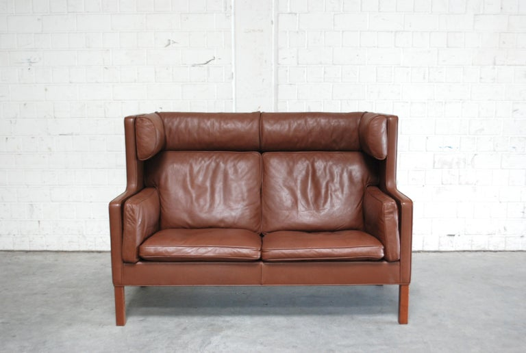 Scandinavian Modern Børge Mogensen Leather Sofa Coupe 2192 for Fredericia For Sale