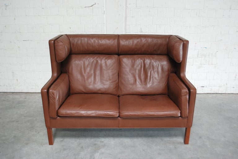 Danish Børge Mogensen Leather Sofa Coupe 2192 for Fredericia For Sale