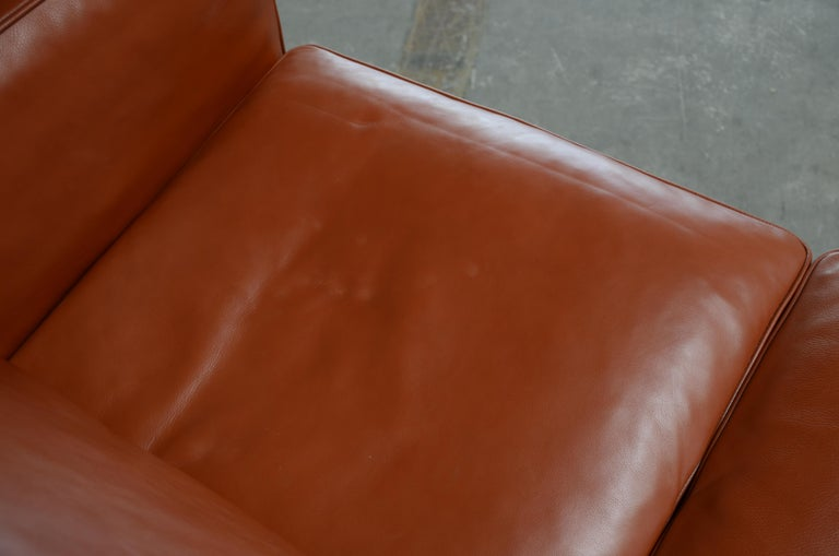 Borge Mogensen Leather Sofa Model 2212 Red Brandy Cognac for Fredericia For Sale 4