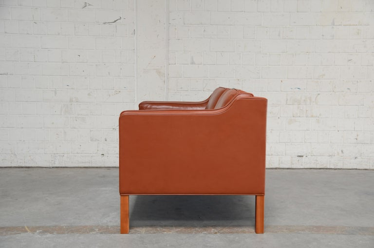 Borge Mogensen Leather Sofa Model 2212 Red Brandy Cognac for Fredericia For Sale 7