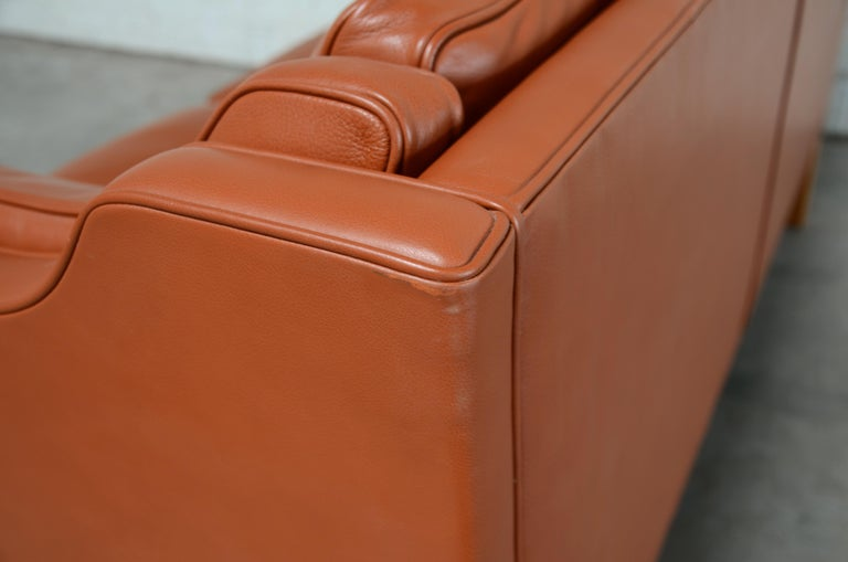Borge Mogensen Leather Sofa Model 2212 Red Brandy Cognac for Fredericia For Sale 8