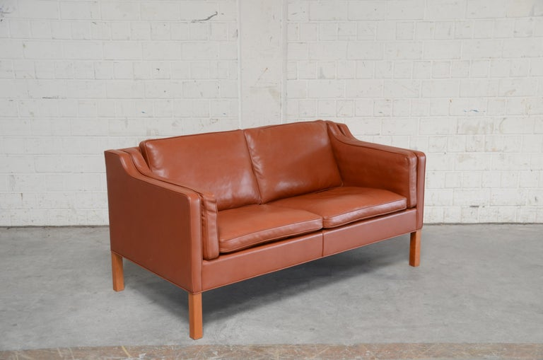 Borge Mogensen Leather Sofa Model 2212 Red Brandy Cognac for Fredericia For Sale 9