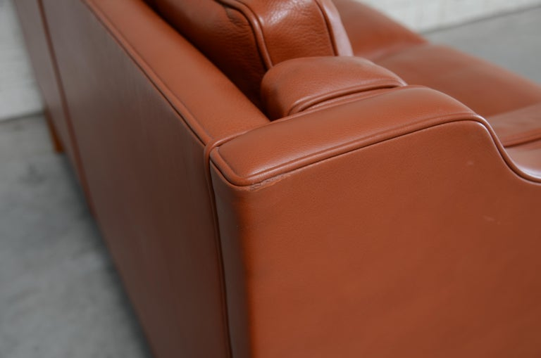 Borge Mogensen Leather Sofa Model 2212 Red Brandy Cognac for Fredericia For Sale 10