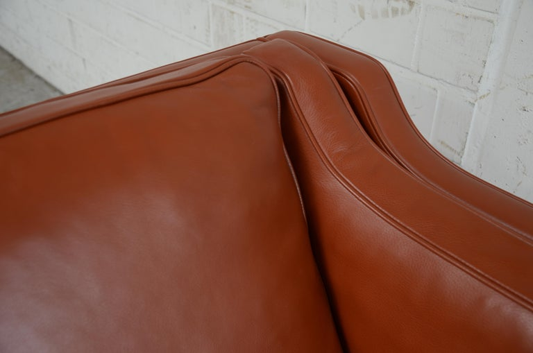 Borge Mogensen Leather Sofa Model 2212 Red Brandy Cognac for Fredericia For Sale 11