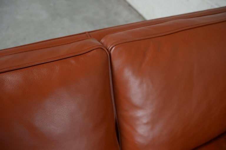 Borge Mogensen Leather Sofa Model 2212 Red Brandy Cognac for Fredericia For Sale 12