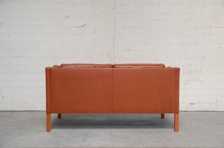 Borge Mogensen Leather Sofa Model 2212 Red Brandy Cognac for Fredericia For Sale 13