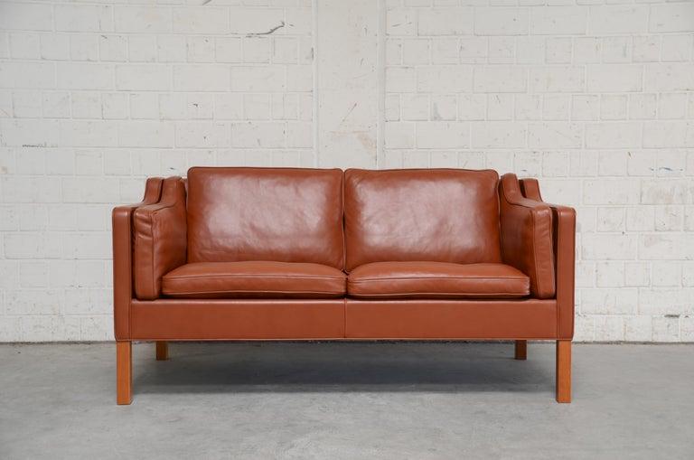 Scandinavian Modern Borge Mogensen Leather Sofa Model 2212 Red Brandy Cognac for Fredericia For Sale