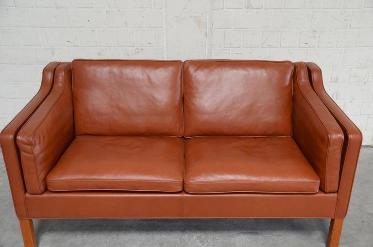 Danish Borge Mogensen Leather Sofa Model 2212 Red Brandy Cognac for Fredericia For Sale