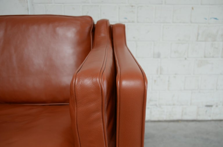 Borge Mogensen Leather Sofa Model 2212 Red Brandy Cognac for Fredericia For Sale 1