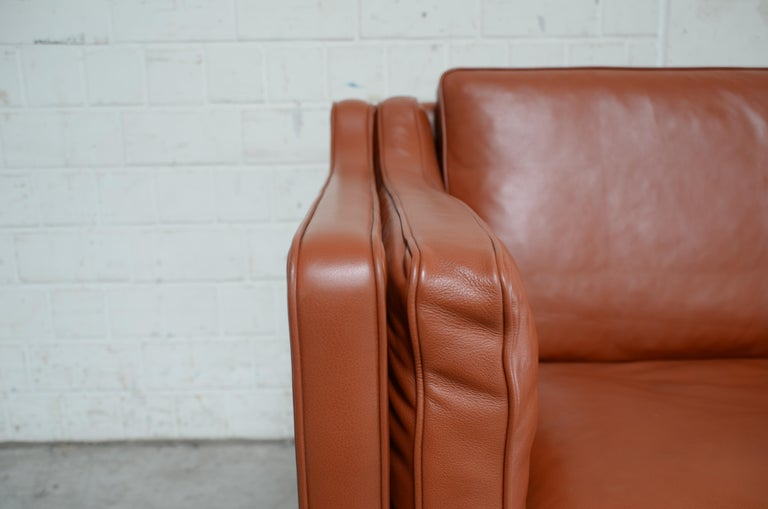 Borge Mogensen Leather Sofa Model 2212 Red Brandy Cognac for Fredericia For Sale 2