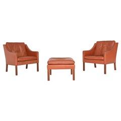 Borge Mogensen Lounge Chairs and Ottoman Fredericia Stolefabrik, Denmark, 1963