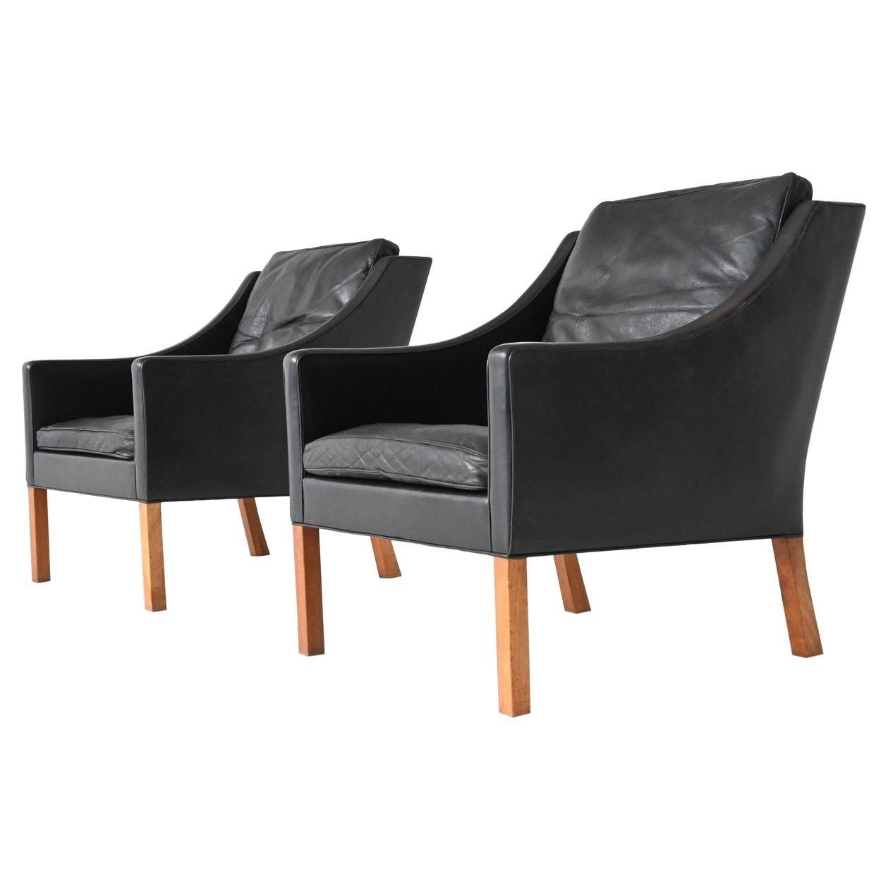 Borge Mogensen Lounge Chairs Fredericia Stolefabrik, Denmark, 1963