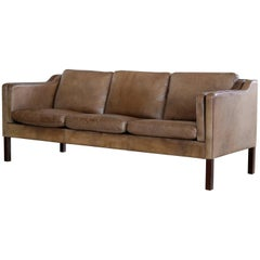 Borge Mogensen Model 2213 Style Sofa in Cappuccino Colored Buffalo Leather