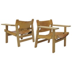 Borge Mogensen pair of oak and leather Spanish Chairs, 1960s