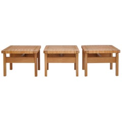 Borge Mogensen Side Tables or Benches in Oak and Rattan Cane, 1950s, Denmark