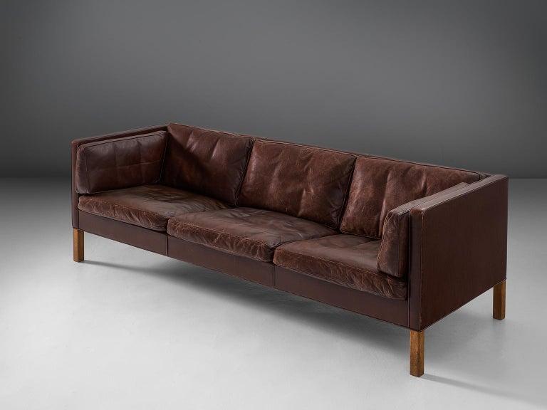 Scandinavian Modern Borge Mogensen Sofa 2443 in Dark Brown Leather For Sale