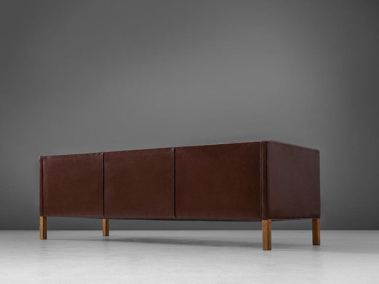 Danish Borge Mogensen Sofa 2443 in Dark Brown Leather For Sale