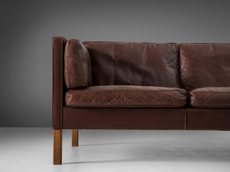Mid-20th Century Borge Mogensen Sofa 2443 in Dark Brown Leather For Sale