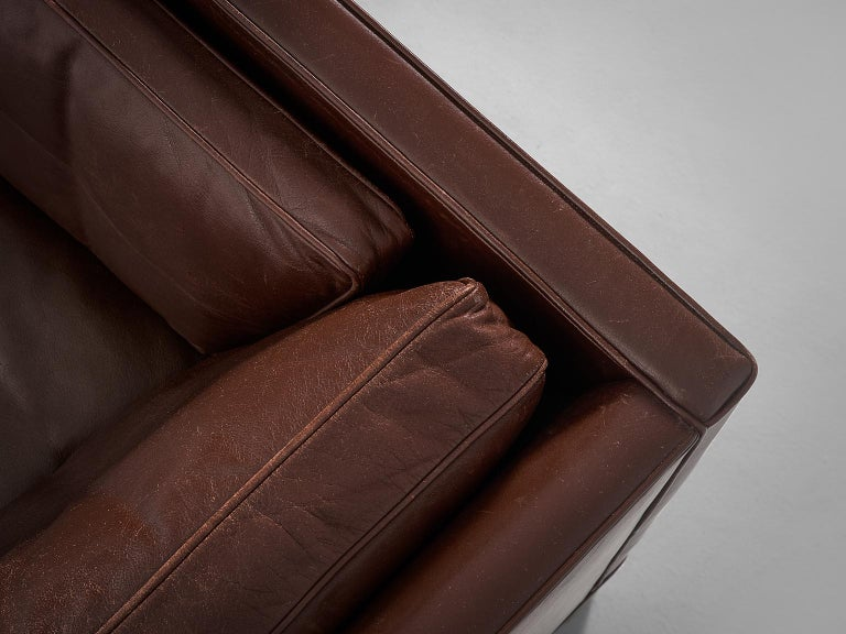 Borge Mogensen Sofa 2443 in Dark Brown Leather For Sale 2