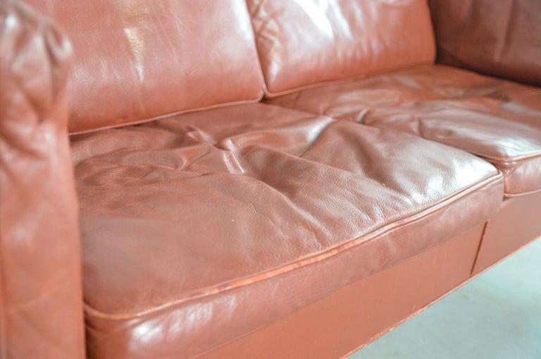 Leather Borge Mogensen two-seat Sofa Model 2212 for Fredericia Danmark For Sale