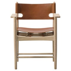Borge Mogensen Spanish Dining Armchair, Model 3237, Cognac